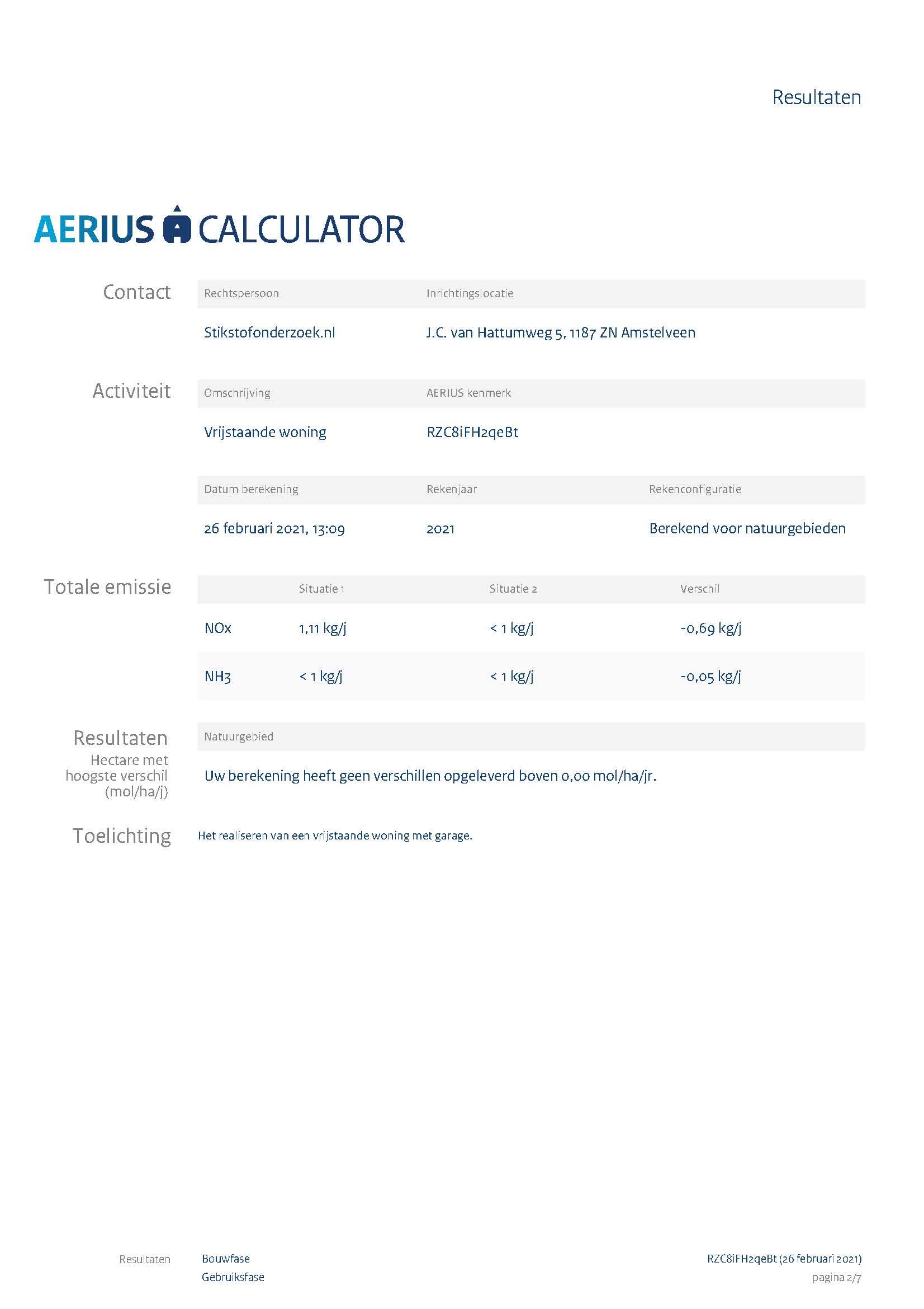 stikstofonderzoek voorbeeldplan aerius berekening page 2